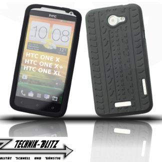 Silikon Schutz-Hülle Reifen Design HTC ONE X+ / X / XL / X PLUS Schwarz