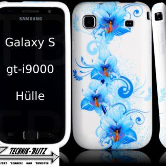 Schutzhülle für Samsung Galaxy S i9000 i9001 S PLUS Weiß Hawaii Blüten