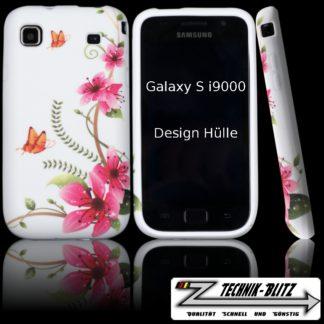 Schutzhülle Samsung Galaxy S i9000 i90001 S Plus Schmetterling Orchidee Weiß