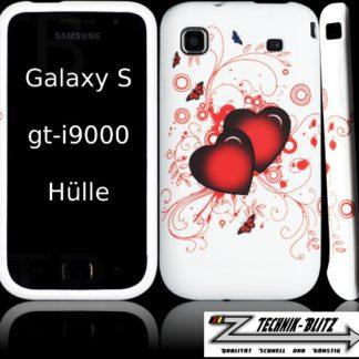 Schutzhülle für Samsung Galaxy S i9000 i9001 S+ Plus Weiß Schmetterling Herzen