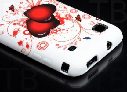 Schutzhülle für Samsung Galaxy S1 i9000 i9001 Schmetterling Herzen Weiß