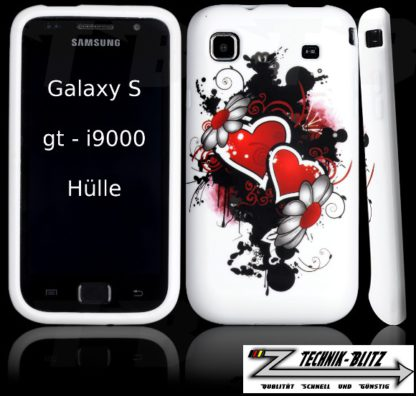 Samsung Galaxy S1 S i9001 i9000 Schutzhülle 2 Herzen Design Weiß