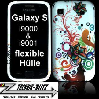 Schutzhülle für Samsung Galaxy S1 S i9000 i9001 in Weiß Crazy Blüte Design
