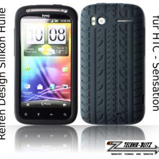 Silikon Schuthülle für HTC Sensation 4G XE G14 im Reifendesign Schwarz