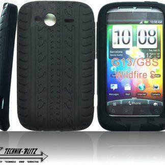 schwarze Silikon Hülle HTC Wildfire S G13 im Reifendesign