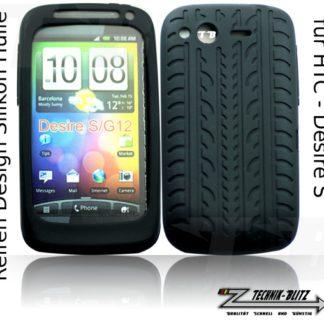 HTC Desire S Hülle Silikon Schwarz Reifendesign G12
