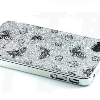 Schutzhülle für Iphone 4 Schmetterlinge Silber Glanz Glitter Diamant