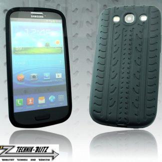 Silikonhülle für Samsung Galaxy S3 im Reifendesign Schwarz